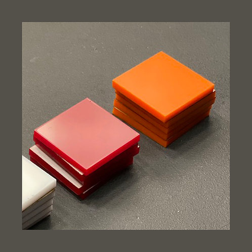 Acrylic Tiles Orange & Red - Set of 10 Pieces