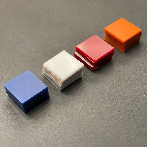 Acrylic Tiles Orange, Red, White & Blue - Set of 20 Pieces