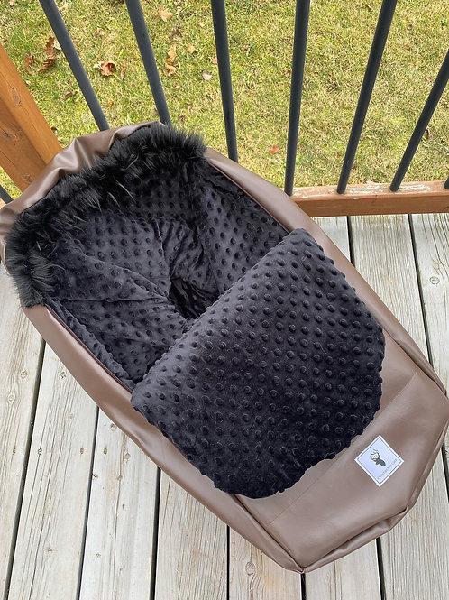 Housse Hiver | winter slipcover |extérieur cuir brun minky noir
