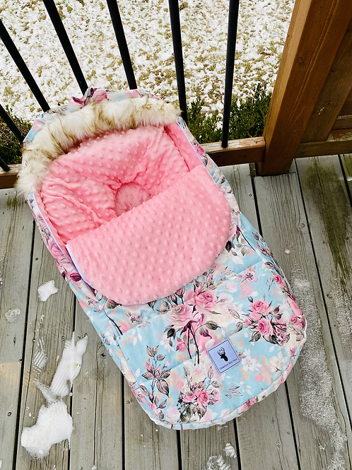 Hiver | winter slipcover |  floral turquoise minky rose