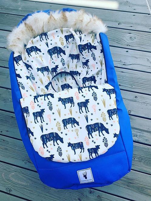 Housse Hiver   winter slipcover   Bleu et vaches