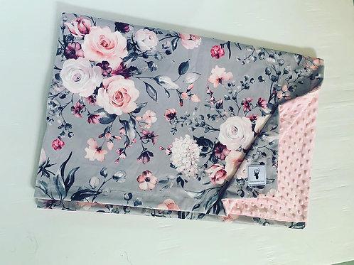 Doudou/Blanket   Doudou minky floral grise