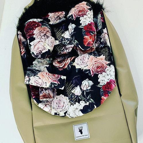 CoHousse  Hiver   winter slipcover   floral noir extérieur cuirette