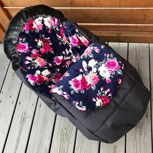 Housse Hiver | winter slipcover | Noire Minky floral marine