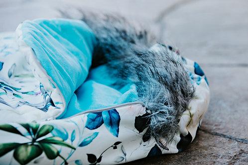 Housse Hiver | winter slipcover | floral bleu et vert minky bleu