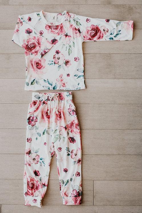Pyjama deux pièces floral rouge/ pajamas