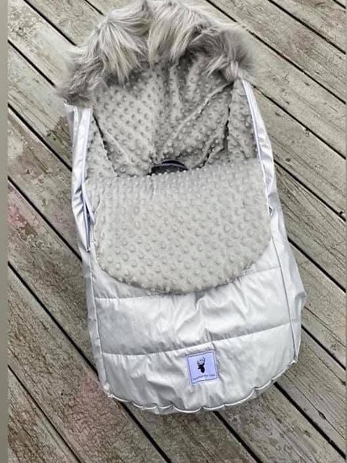 Housse Hiver | winter slipcover |minky gris extérieur gris