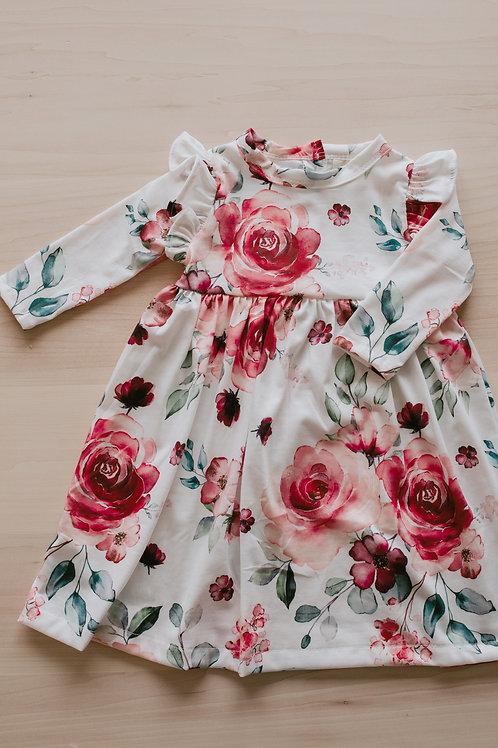 Robe enfant floral rouge