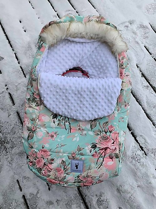 Housse Hiver | winter slipcover |fleurs turquoise minky blanc