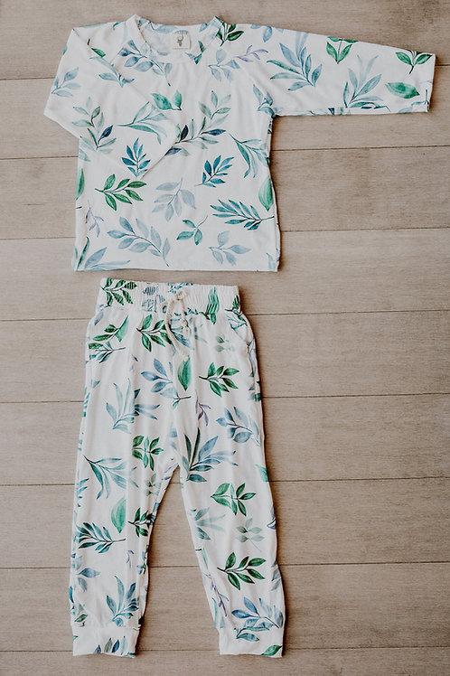 Pyjama deux pièces feuille verte/ pajamas