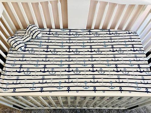 Literie | Bedding | Drap contour et oreiller papillon ancre