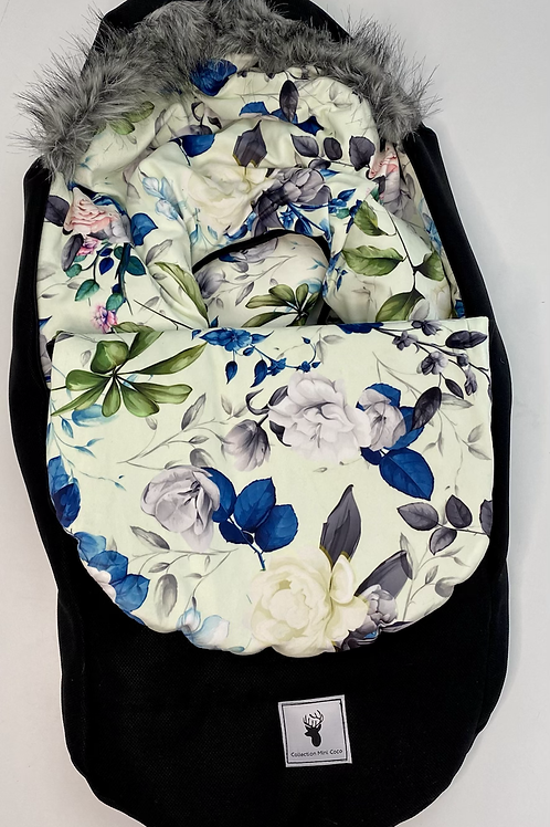 Houssse Hiver | winter slipcover |  floral vert et bleu