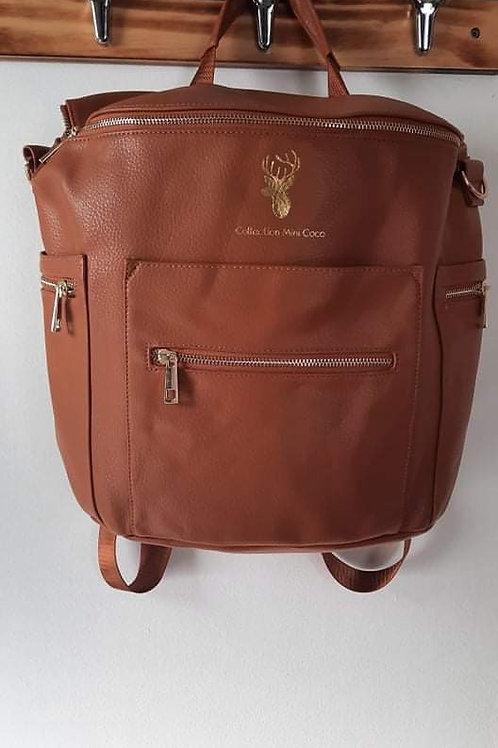 Sac à couches / sac à dos | Back pack / Diaper bag |faux cuir brun