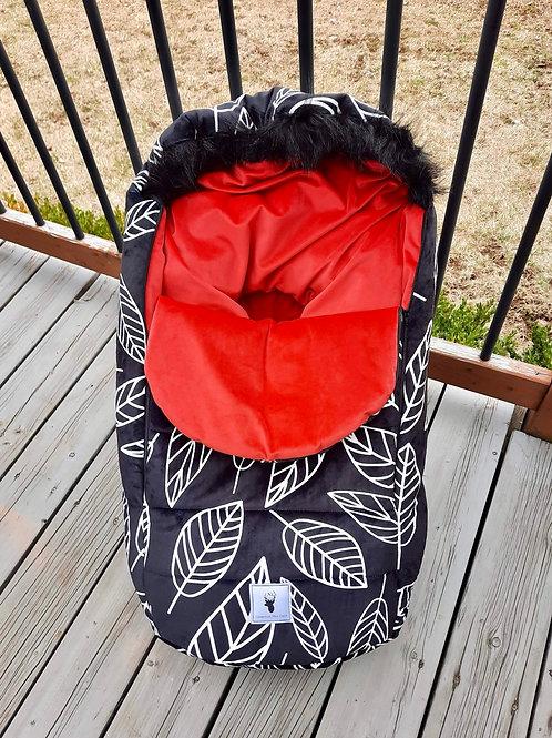Hiver | winter slipcover |  feuille minky noir intérieur rouge