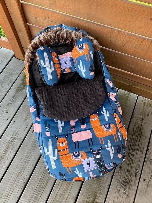 Housse Hiver | winter slipcover | Lama bleu et orange Minky noir