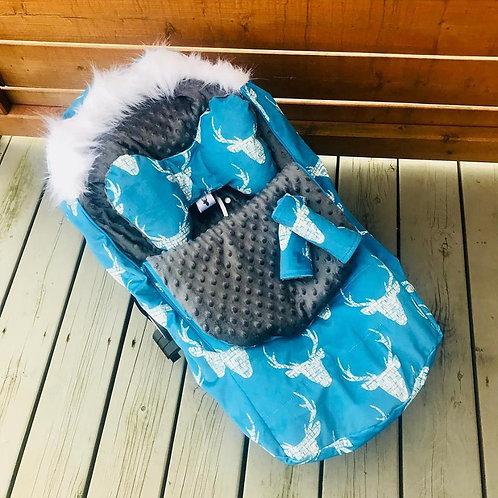 Housse Hiver | winter slipcover | Chevreuil bleu Minky gris