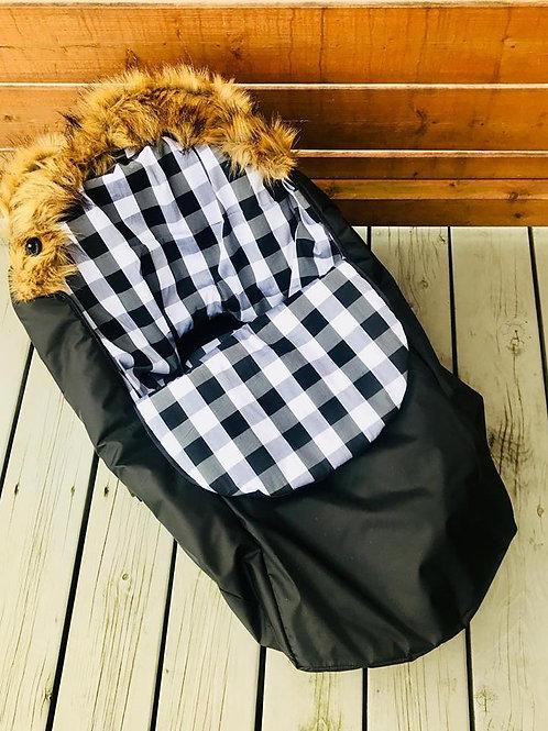 Housse Hiver | winter slipcover | Noire Minky carreaux noir et blanc