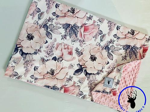 Accessoires | Accessories | Doudou/Blanket | Doudou minky floral blanc