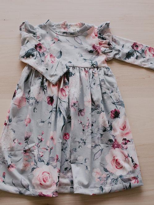 Robe enfant floral sur fond gris