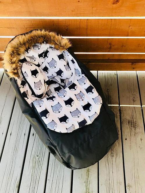Housse Hiver   winter slipcover   Noire Minky Renard