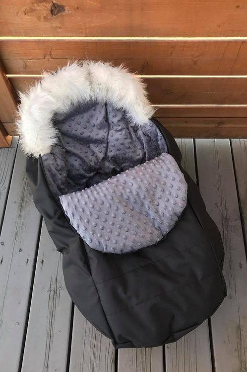Housse Hiver | winter slipcover | Noire Minky gris