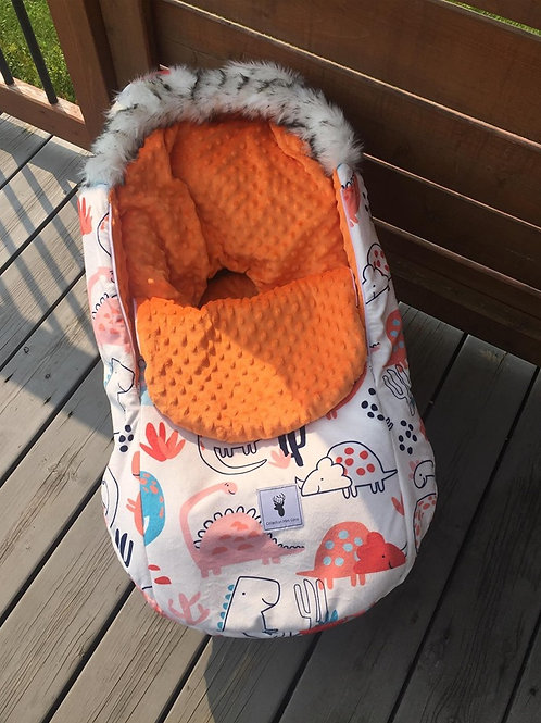 Housse Hiver | winter slipcover | Dino minky orange