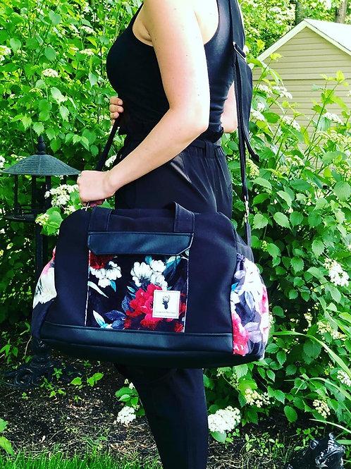 Sac à couches / bandoulière | Shoulder strap / Diaper bag | Floral noir et rouge