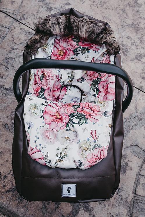 Hiver | winter slipcover |  floral rose extérieur brun foncé