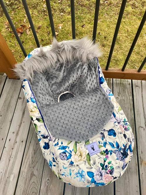 Housse Hiver | winter slipcover | floral bleu et vert minky gris