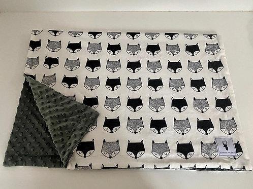Doudou renard noir et blanc/Blanket  fox