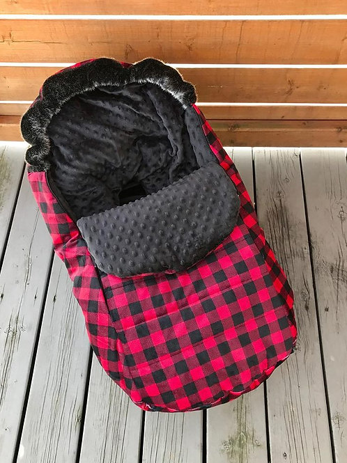 Housse Hiver | winter slipcover | Carreaux Minky noir
