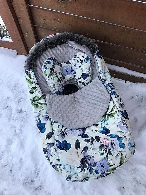 Housse Hiver | winter slipcover | Floral bleu et blanc