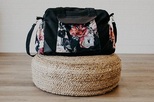 Sac à couches / bandoulière | Shoulder strap / Diaper bag | Floral noir