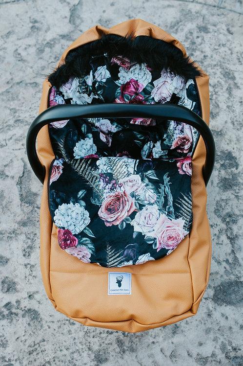 Housse Hiver | winter slipcover |floral noir extérieur  brun