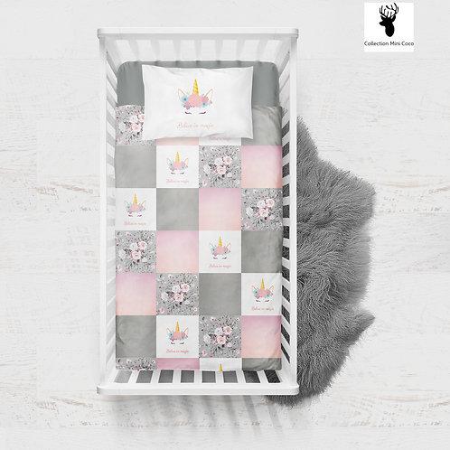 Literie | Bedding | licorne grise