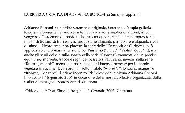 La recherche créative de Adrianna Bonomi Critique d'art
