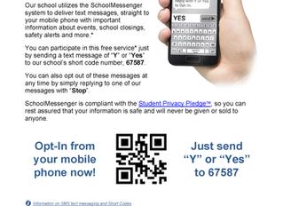 School Messenger Updates