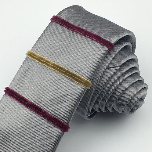 gun metal - three stripe silk tie