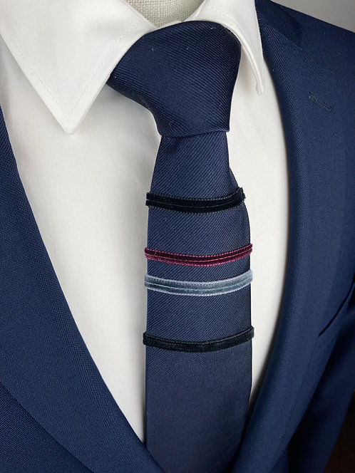 midnight blue - four stripe silk tie
