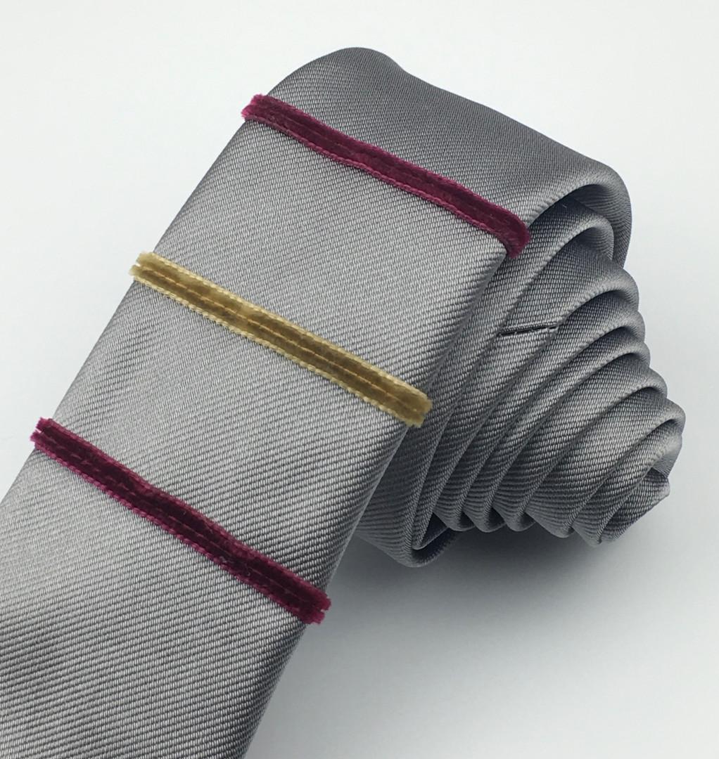 Gun metal - velvet stripe silk tie