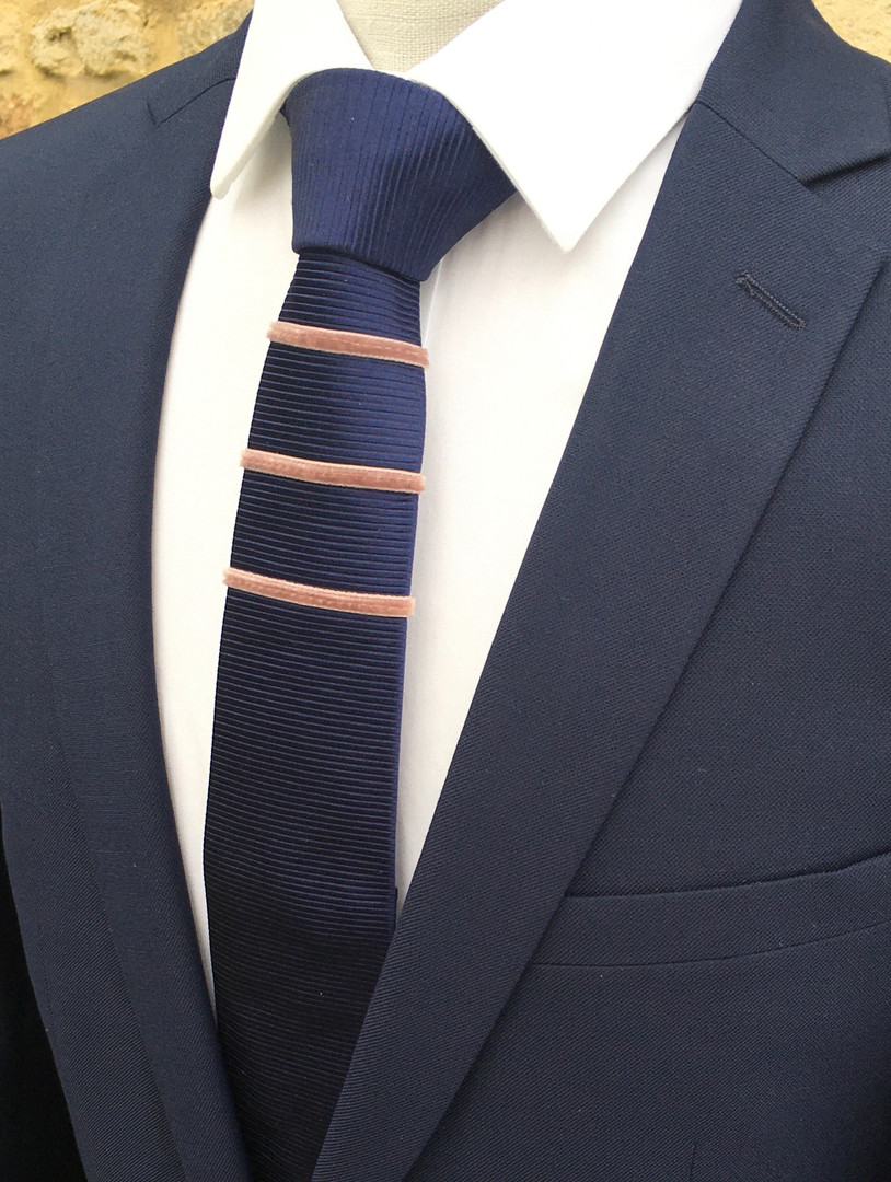 midnight blue - blush pink velvet stripe silk tie