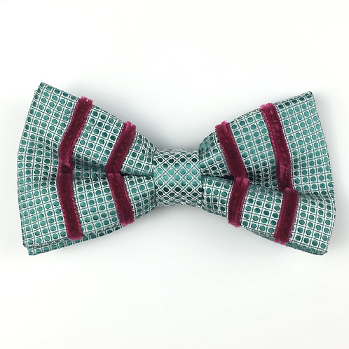 teal green -  four stripe silk bow