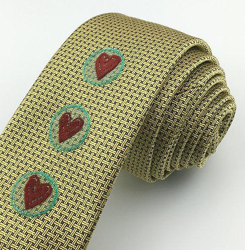 gold - circle hearts silk tie