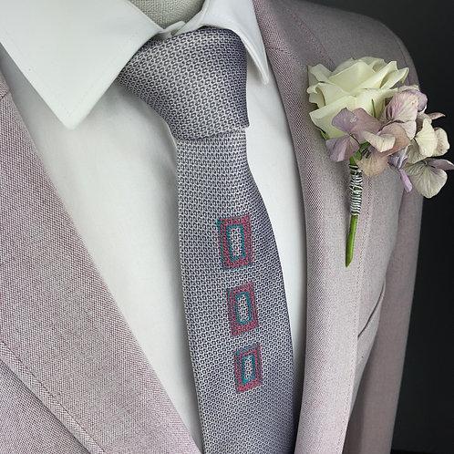 silver navy - three rectangles silk tie