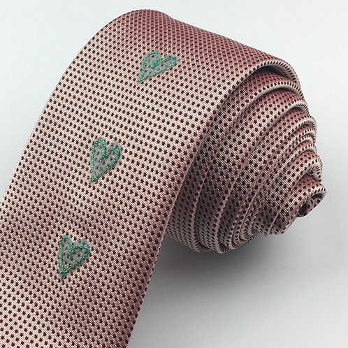 blush pink dot - three heart silk tie