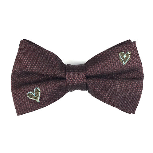 claret dot - two heart silk bow