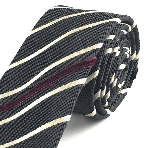black ecru - diagonal stripe silk tie