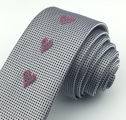 silver blue dot - three hearts silk tie