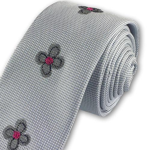 pale blue - three daisy silk tie