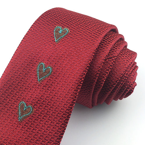 reptile red - three hearts silk tie